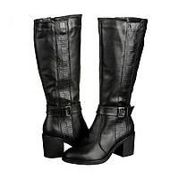 Кожаные женские зимние сапоги на каблуке 6 см
