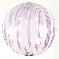 """Шар Bubbles розовый с полосками кристалл, Китай 45 см (18"""")"""