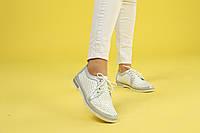 Белые туфли с перфорацией на шнуровке с плоской подошвой, фото 1