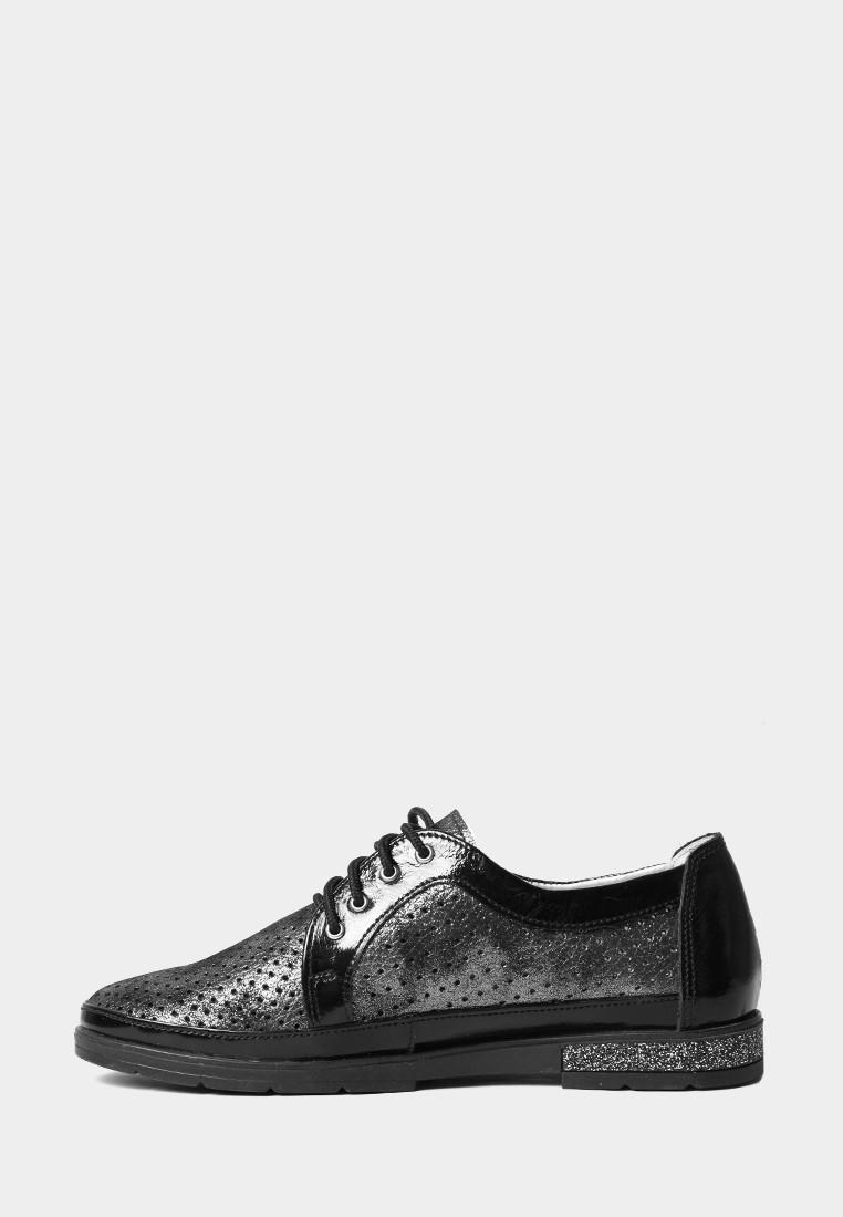 Серебристые туфли на плоской подошве с перфорацией