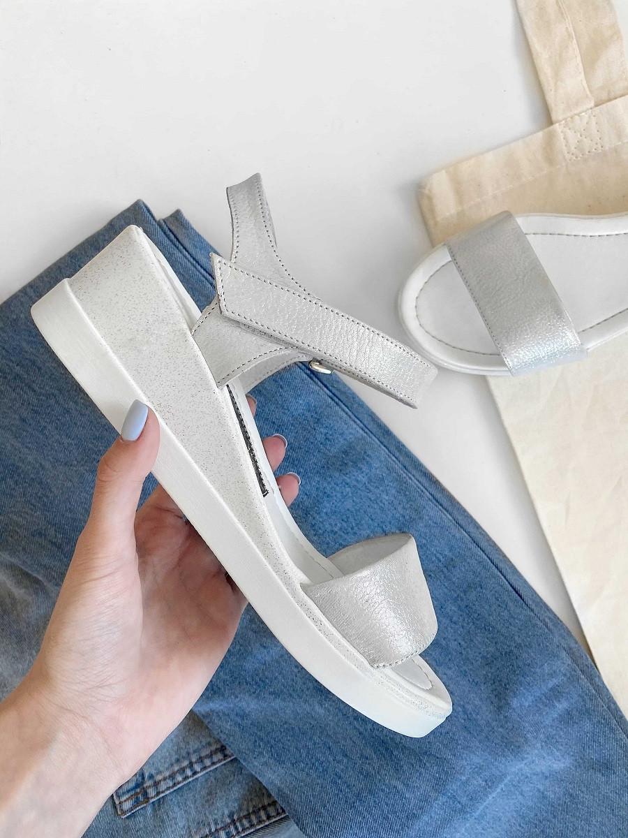 Серебристые кожаные босоножки, кожаные сандалии женские  39 , 40