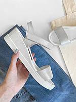 Серебристые кожаные босоножки, кожаные сандалии женские  39 , 40, фото 1
