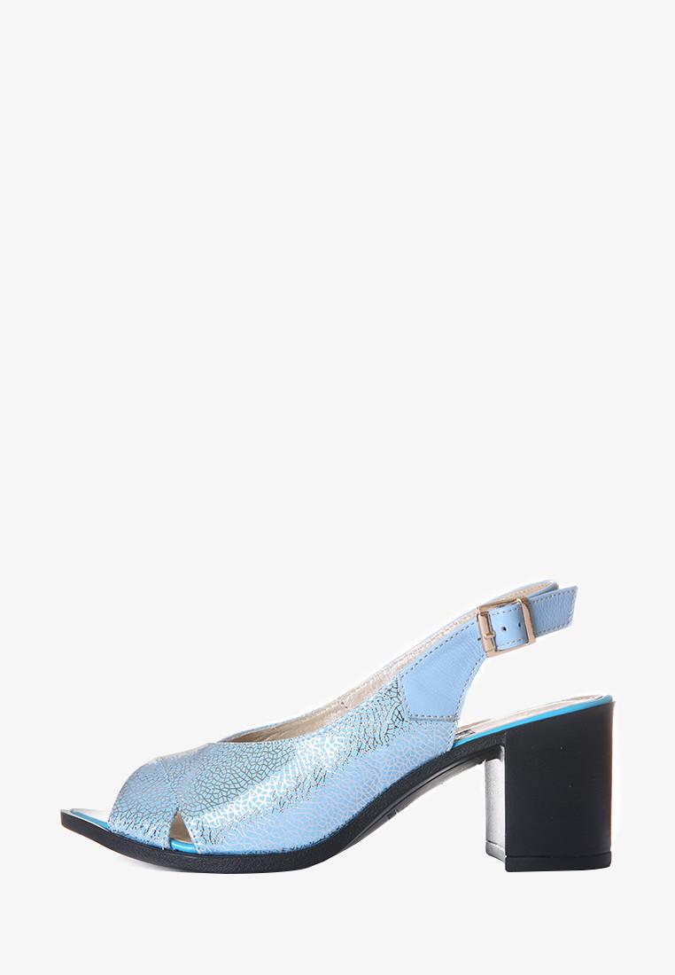 Кожаные женские босоножки голубого цвета, босоножки  на каблуке 36 -38