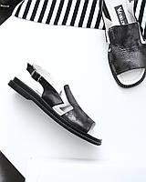 Закрытые черные босоножки из натуральной кожи 38,39,41, фото 1
