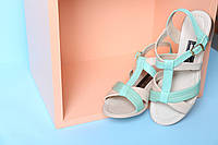 Мятные женские босоножки на маленьком каблуке из натуральной кожи, фото 1
