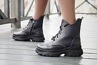 Кожаные женские ботинки на зиму со шнуровкой и молнией, фото 1