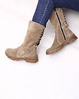 Бежевые зимние сапоги на плоской подошве