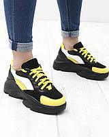 Чорні шкіряні жіночі кросівки, фото 1