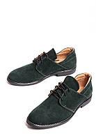 Замшевые туфли на шнуровке темно зеленые, фото 1
