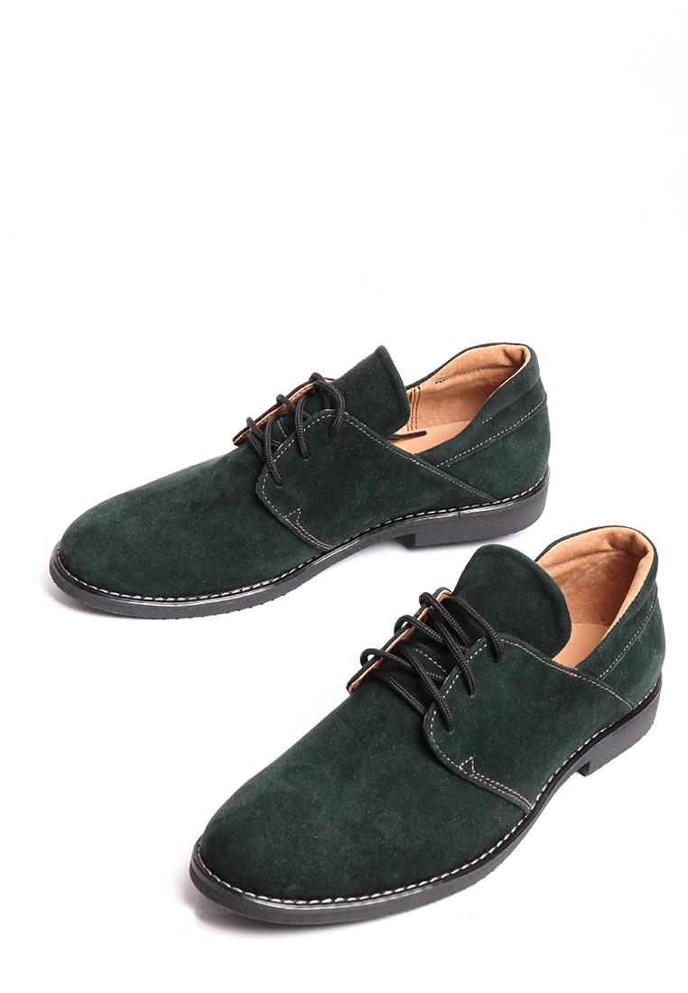 Замшевые туфли на шнуровке темно зеленые