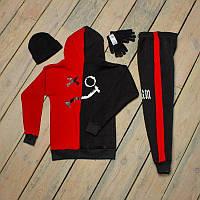 Зимний спортивный мужской костюм черный с красным + шапка +сенсорные перчатки