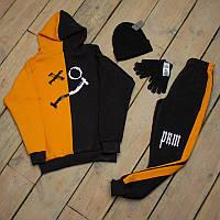 Зимний спортивный костюм мужской черный с оранжевым + шапка +сенсорные перчатки