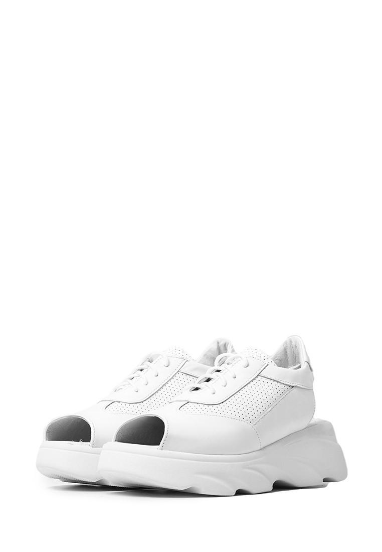 Босоножки кроссовки белые в коже, сопранные открытые кроссовки с  открытым задником и носком