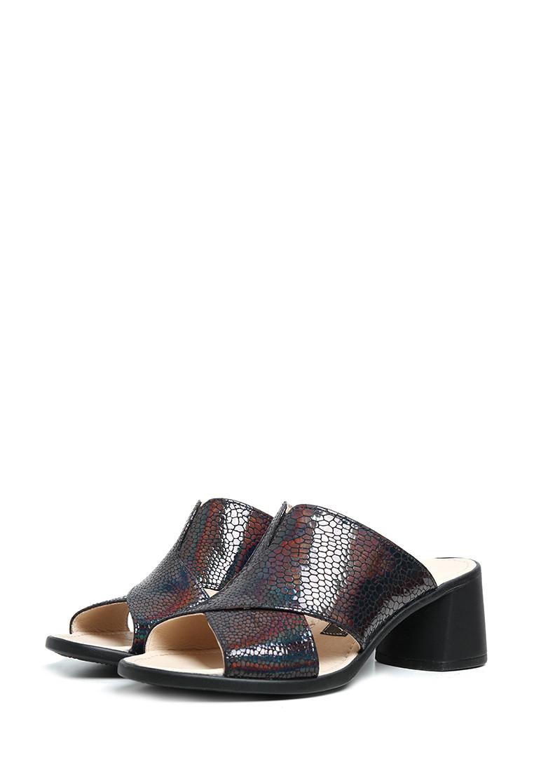 Кожаные женские босоножки, шлепанцы на квадратном каблуке   37