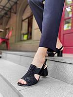 Черные женские босоножки на квадратном каблуке  36,38,39, фото 1