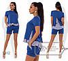 Літній жіночий стильний костюм трійку н: шорти + дві блузки (р. 42-48). Арт-2805/23