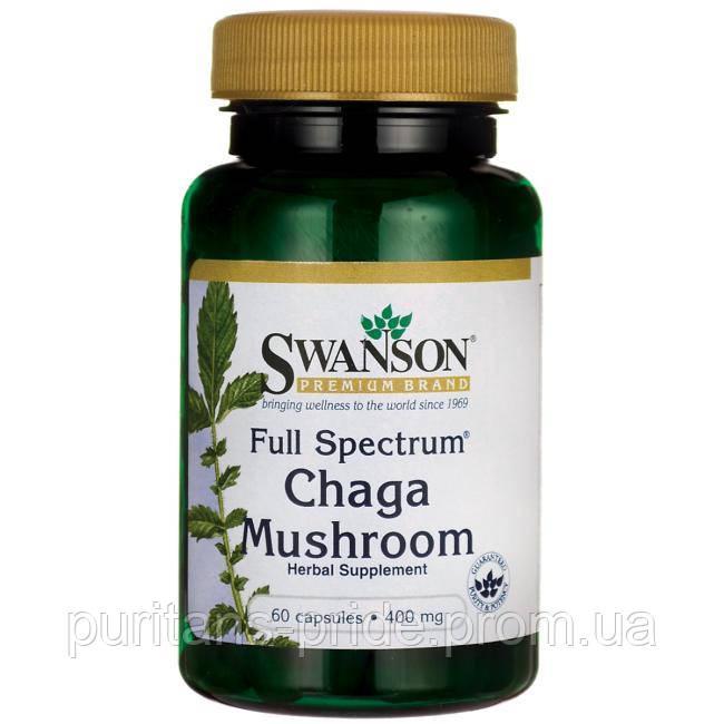 Гриб Чага, Swanson chaga mushroom 400 mg 60 capsules