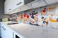 Кухонный фартук Тортик (виниловая пленка наклейка скинали ПВХ) сладости пирожные Еда Бежевый 600*2500 мм