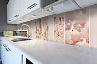 Кухонный фартук Золушка (виниловая пленка наклейка скинали ПВХ) туфелька свечи жемчуг Розовый 600*2500 мм