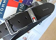 Кожаный мужской ремень для джинсов Tommy Hilfiger черный