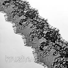Ажурное французское кружево шантильи (с ресничками) черного цвета шириной 15 см, длина купона 3.0 м.