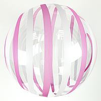 """Шар Bubbles прозрачныйс розовыми и белыми полосками кристалл, Китай 45 см (18"""")"""