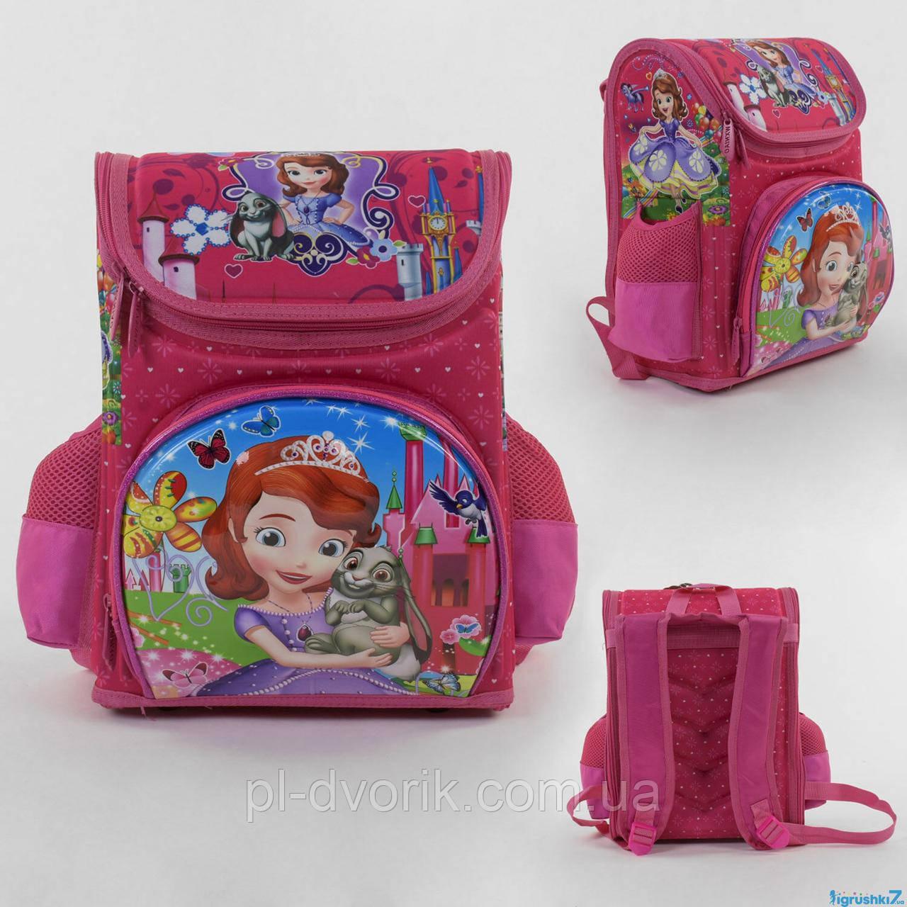 Рюкзак школьный каркасный  софияС 43557 (36) 3D принт, 1 отделение, 3 кармана, ортопедическая спинка, в пакете
