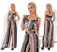 Стильний жіночий річний котонові смугастий костюм-двійка: широкі штани і топ (р. 42-48). Арт-2807/23