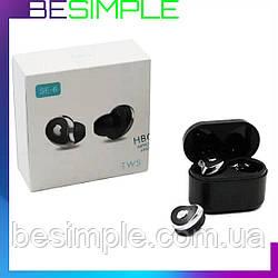 Беспроводные наушники MDR HBQ SE6 TWS Bluetooth с зарядным блоком Black
