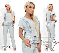 Стильний жіночий літній костюм-двійка: блузка+штани (р. 42-48). Арт-2814/23, фото 1