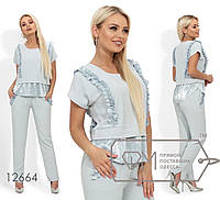 Стильний жіночий літній костюм-двійка: блузка+штани (р. 42-48). Арт-2814/23