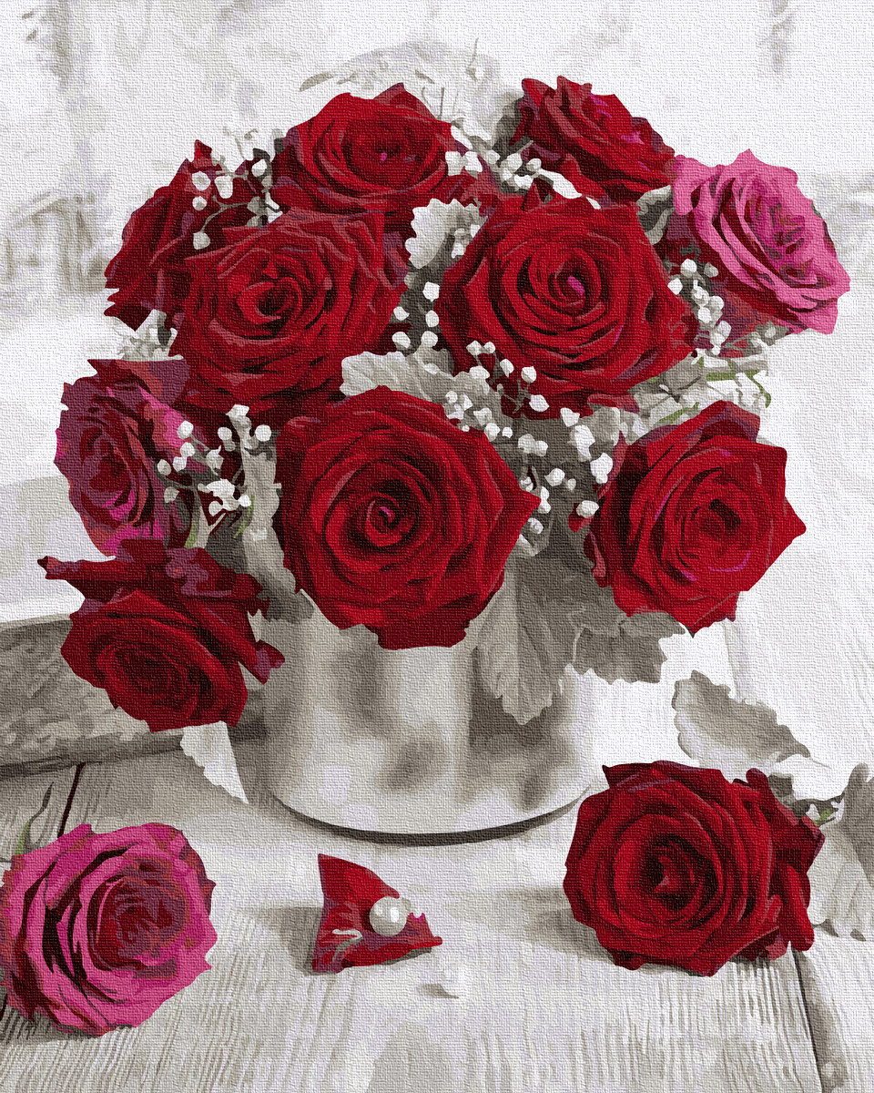 Живопись по номерам Бордовые розы GX36068 Rainbow Art 40 х 50 см (без коробки)