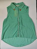 Блузка женская зеленая без рукавов