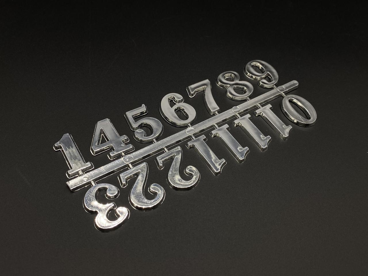 Цифры для часов. Цвет серебро. 2.5см