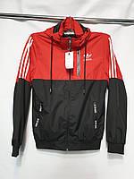 """Ветровка мужская демисезонная под резинку """"Adidas"""" размеры 48-56, красного цвета"""