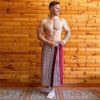Банное полотенце махровое (килт-парео) 90х150 см бордо