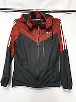 """Ветровка мужская демисезонная с капюшоном """"Adidas"""" размеры 48-56, бордового цвета"""