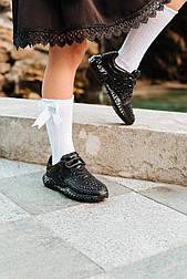 Детские кроссовки на липучках, последний размер 34 - 22,5 см (Черные)