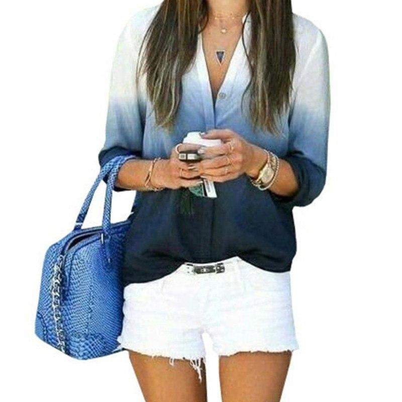 Блузка женская с рукавами синяя, морская волна, размер S