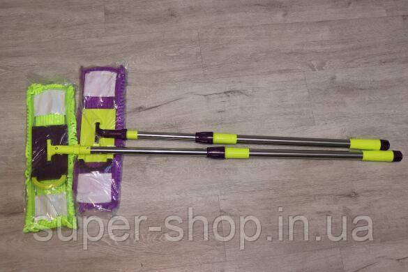 Швабра полотер с педалью для влажной уборки лапша микрофибра с металической ручкой