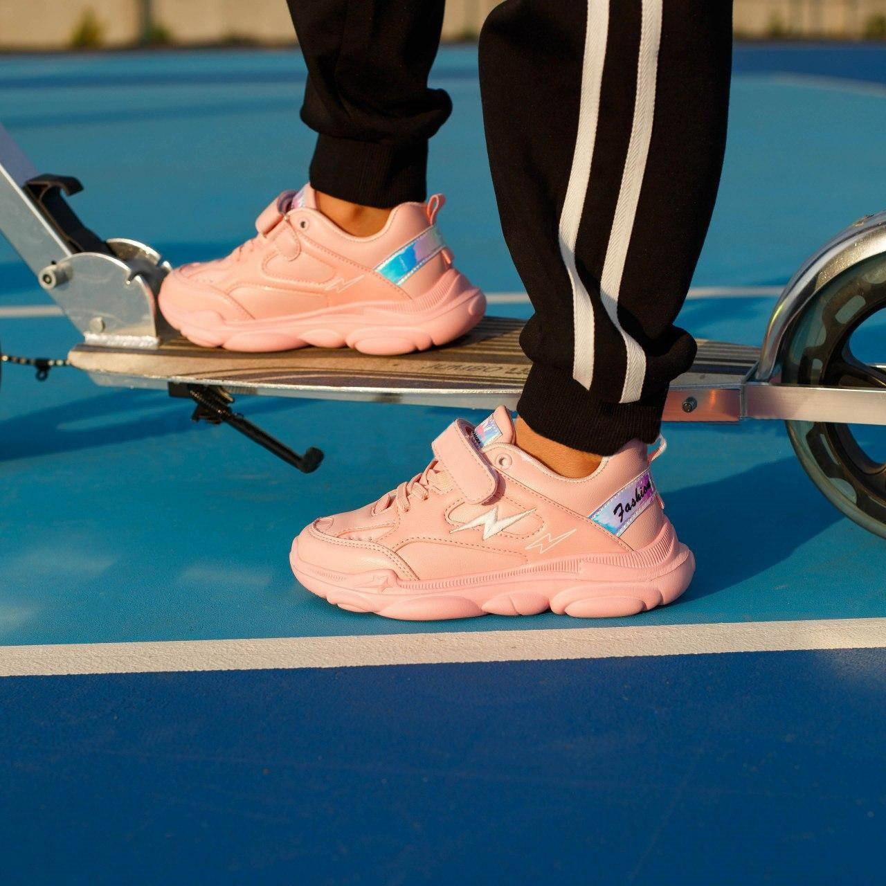 Детские кроссовки на липучках, размеры 25-30, замеры в описании (Розовые)