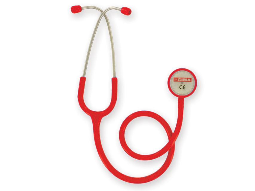 Стетоскоп терапевтический GIMA, двухсторонний для прослушивания тонов сердца и легких, КРАСНЫЙ, Италия