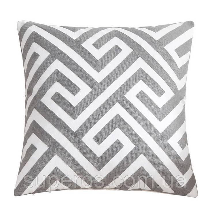 Декоративная подушка (наволочка) Коллекция Prominent Gray с вышивкой