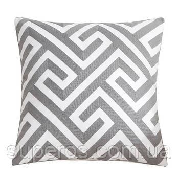 Декоративна подушка (наволочка) Колекція Prominent Gray з вишивкою