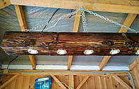 Потолочная лампа из деревянного бруса  с  led лампами