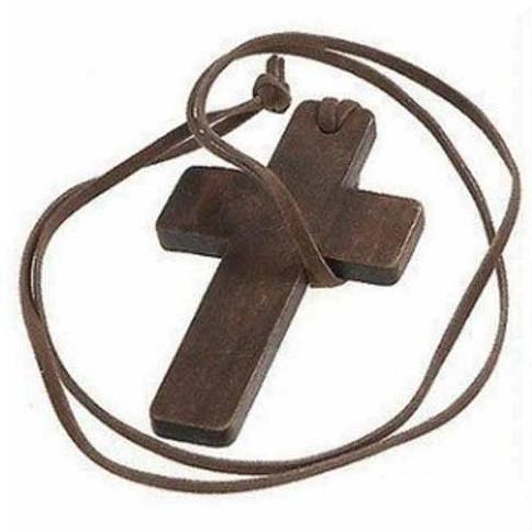 Дерев'яний Хрест на Шнурку Кожанном