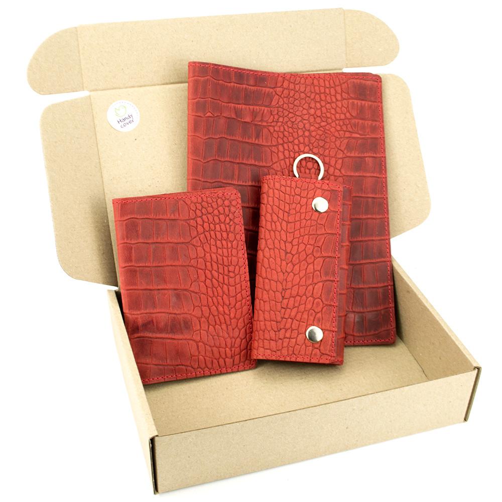 Подарочный набор №25: Обложка на ежедневник + обложка на паспорт + ключница (красный крокодил)