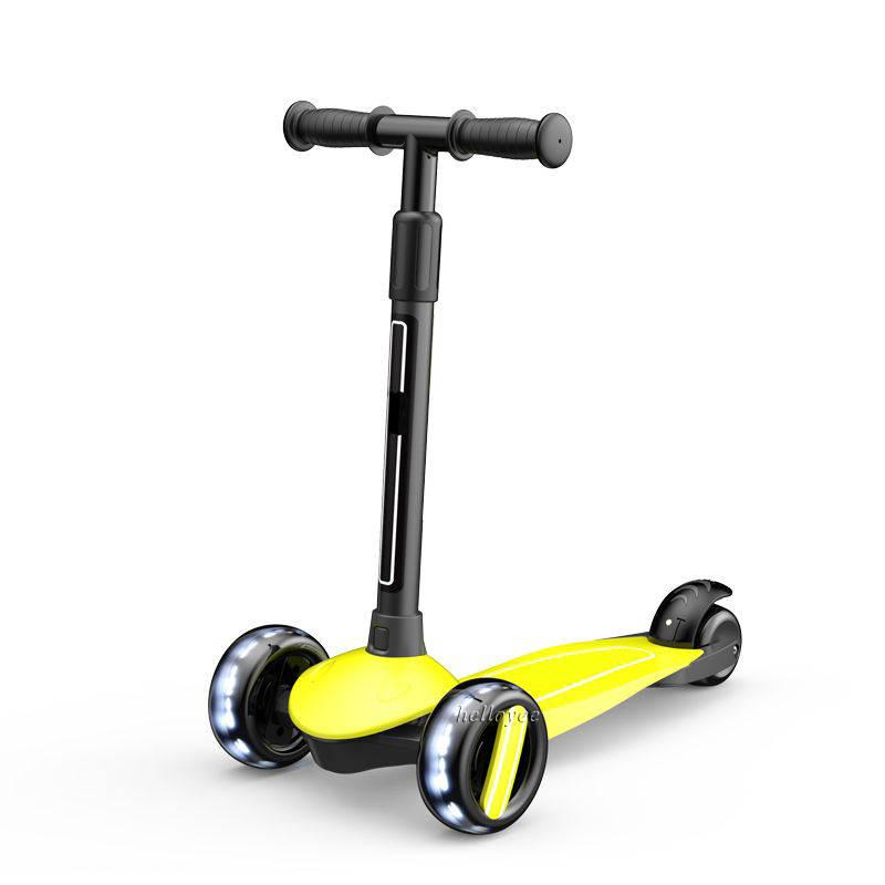 Детский трехколесный самокат Kick Scooter Складной Желтый