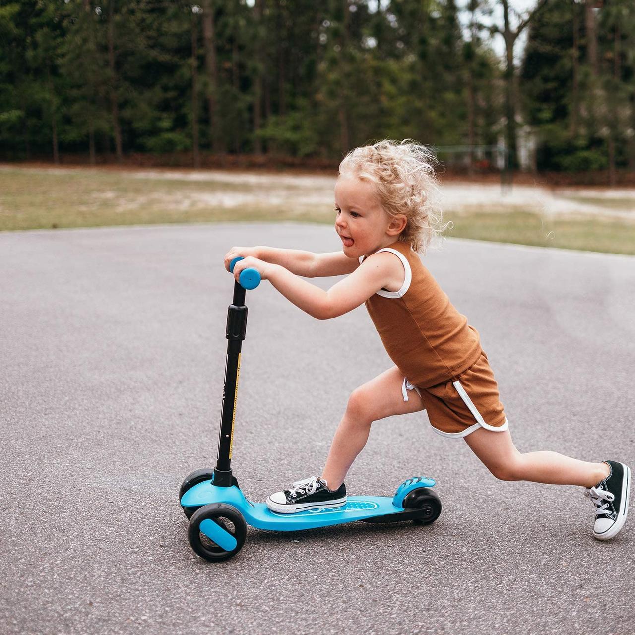 Детский трехколесный самокат Kick Scooter Складной Голубой, фото 2