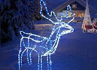 Світлодіодний 3D Білий олень /Светящийся білий олень/Новорічний Олень з поворотом голови 95 см